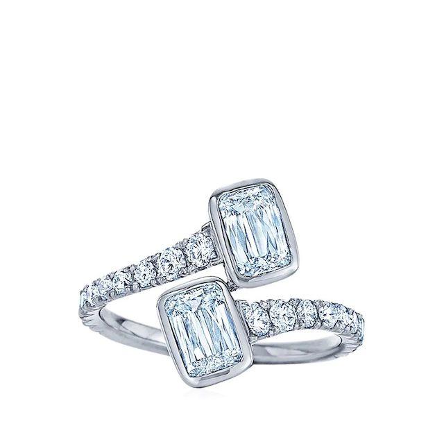 Ashoka diamond bypass ring