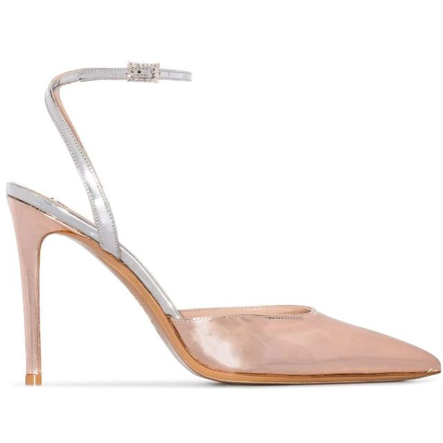 Rose gold pumps with a closed pointed toe, silver straps and a crystal-embellished buckle