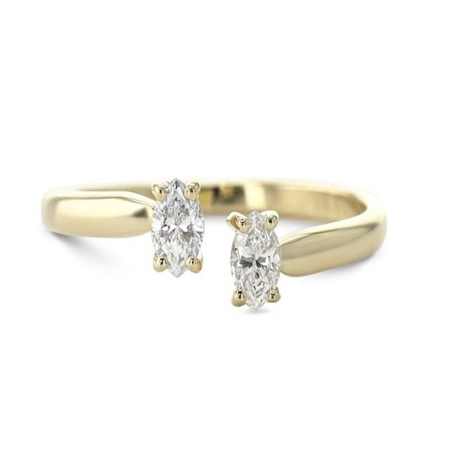BestBrilliance Diamond Gold Personalized Two Stone Ring