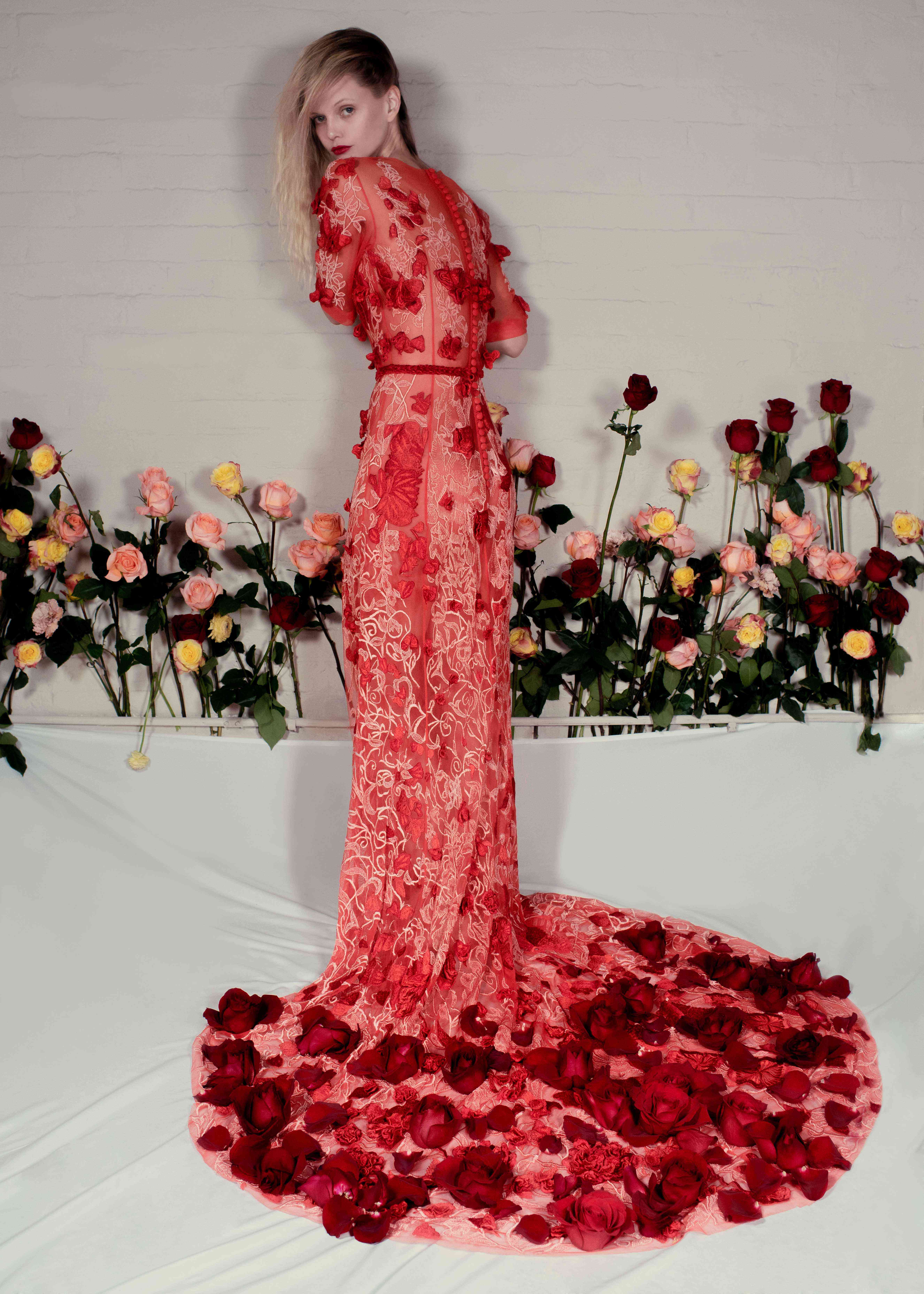 Butterfly Rose red wedding dress