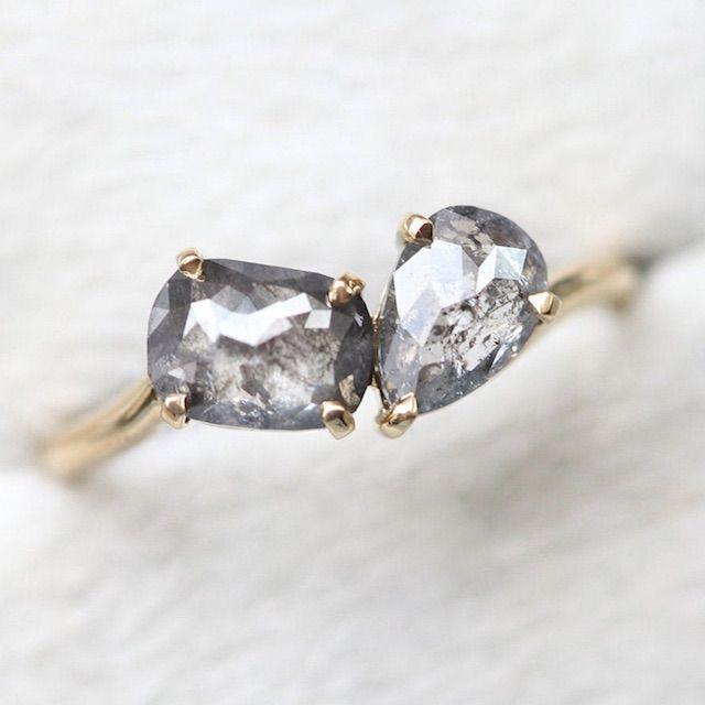 MinimalVS Galaxy Salt & Pepper Diamond Ring, 2-stone Engagement Ring