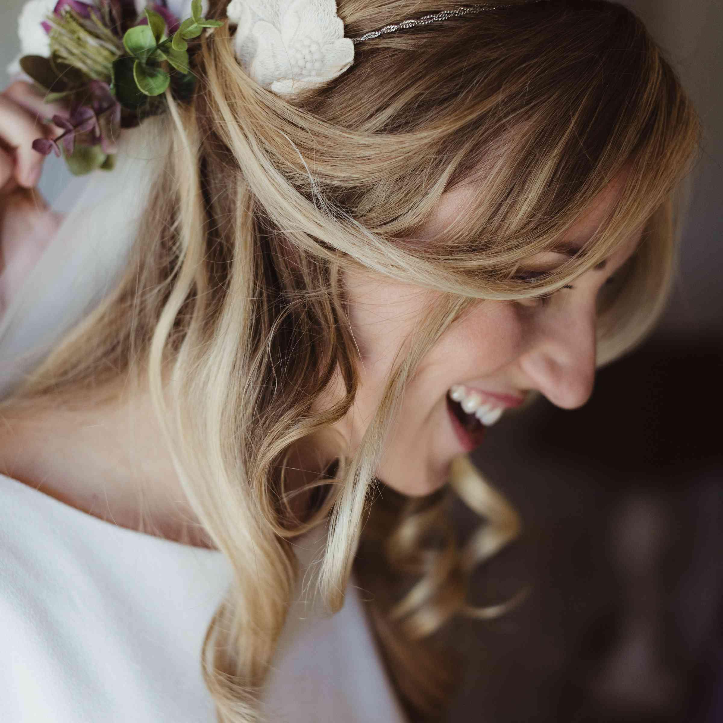 Close up bridal hair