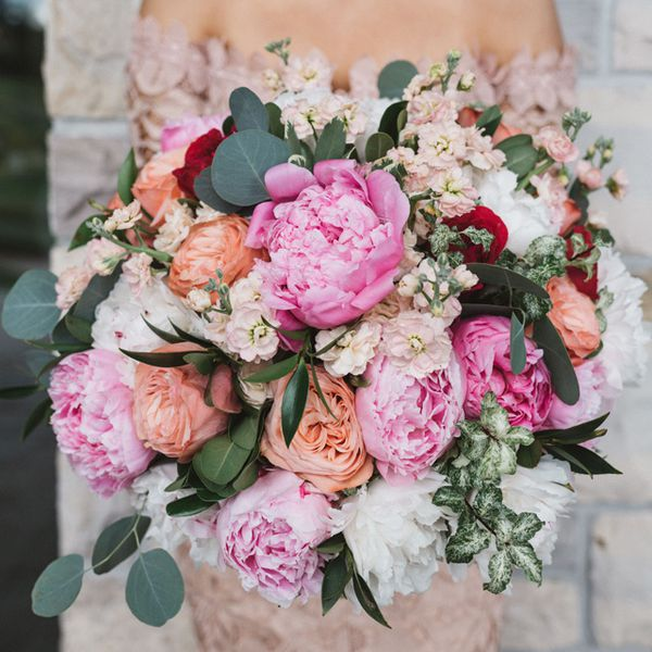 White, pink, and coral peony bouquet