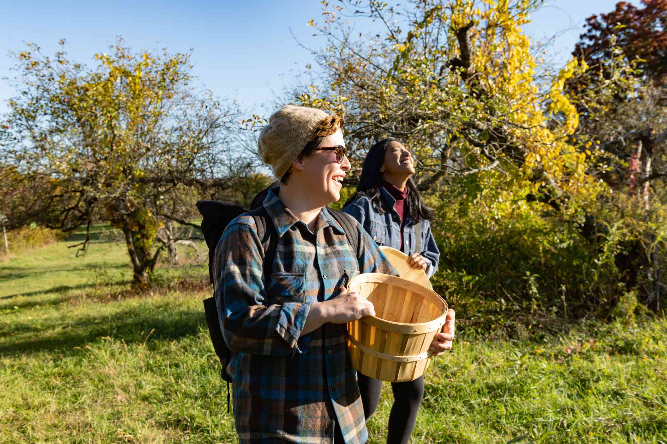 Two people walking through an orchard with baskets