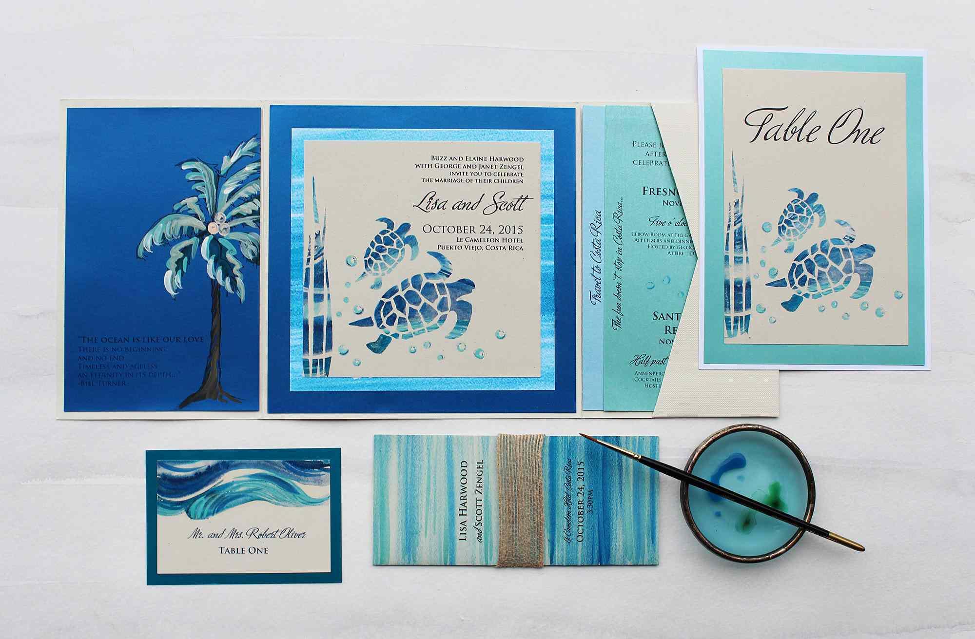 Wedding invitations with handpainted turtles