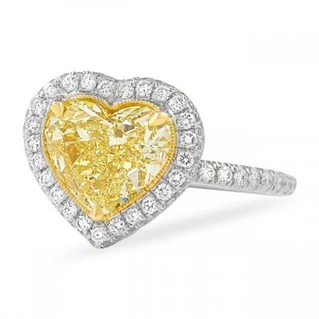 Lauren B Heart Shape Yellow Diamond Halo Engagement Ring