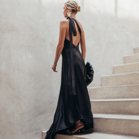 Black silk dress back naked