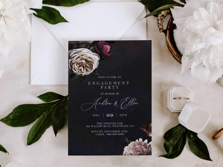 Heart Engagement Invitation Simple Engagement Invitation Modern Engagement Invitation