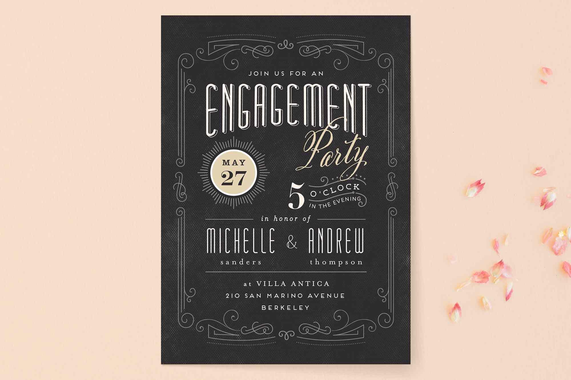 Vintage black engagement party invitation