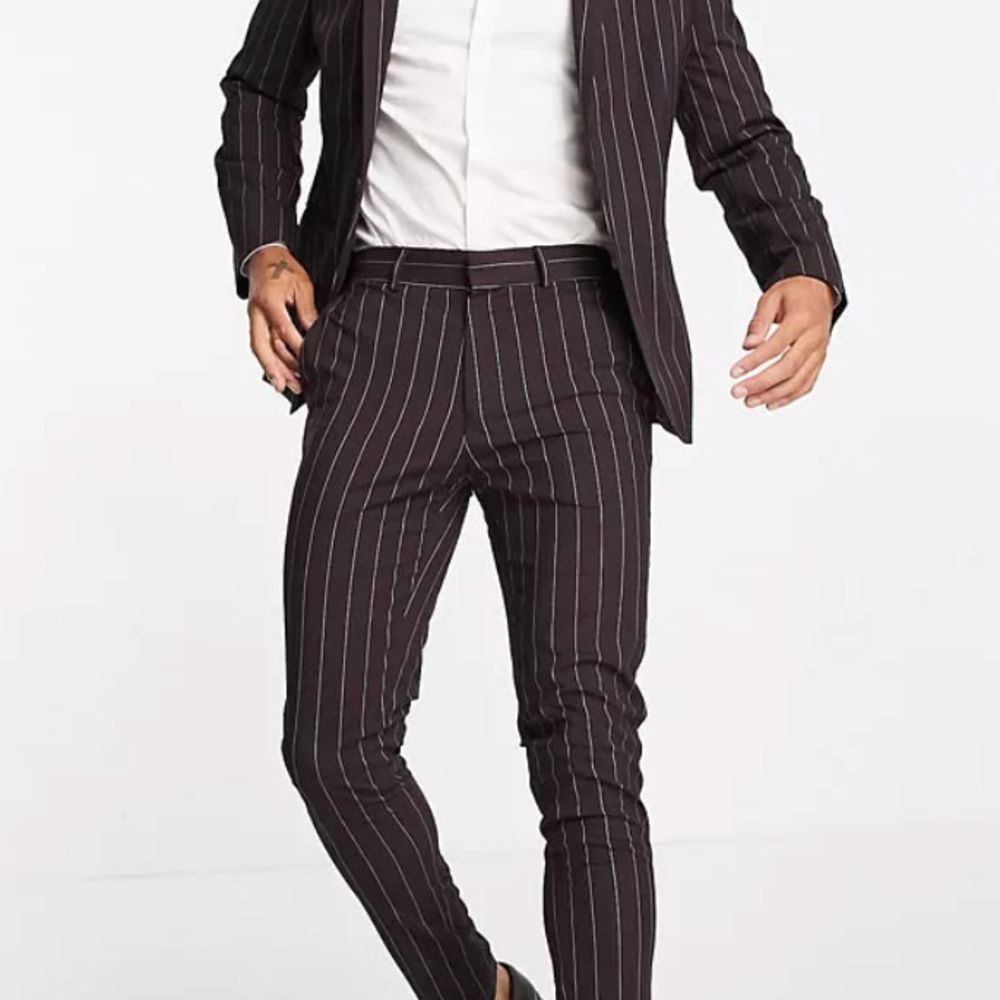 pinstripe burgundy suit