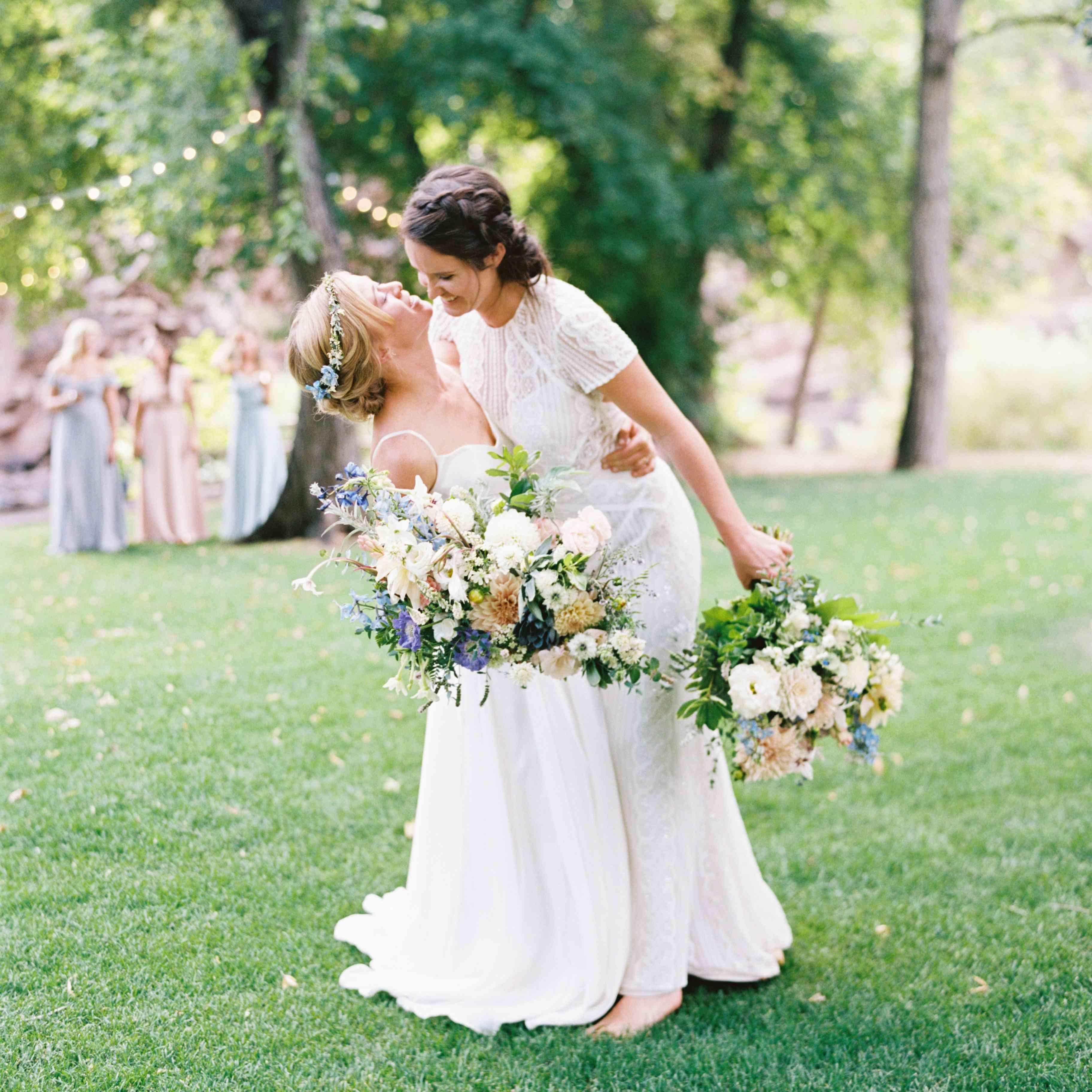 brides in BHLDN dresses