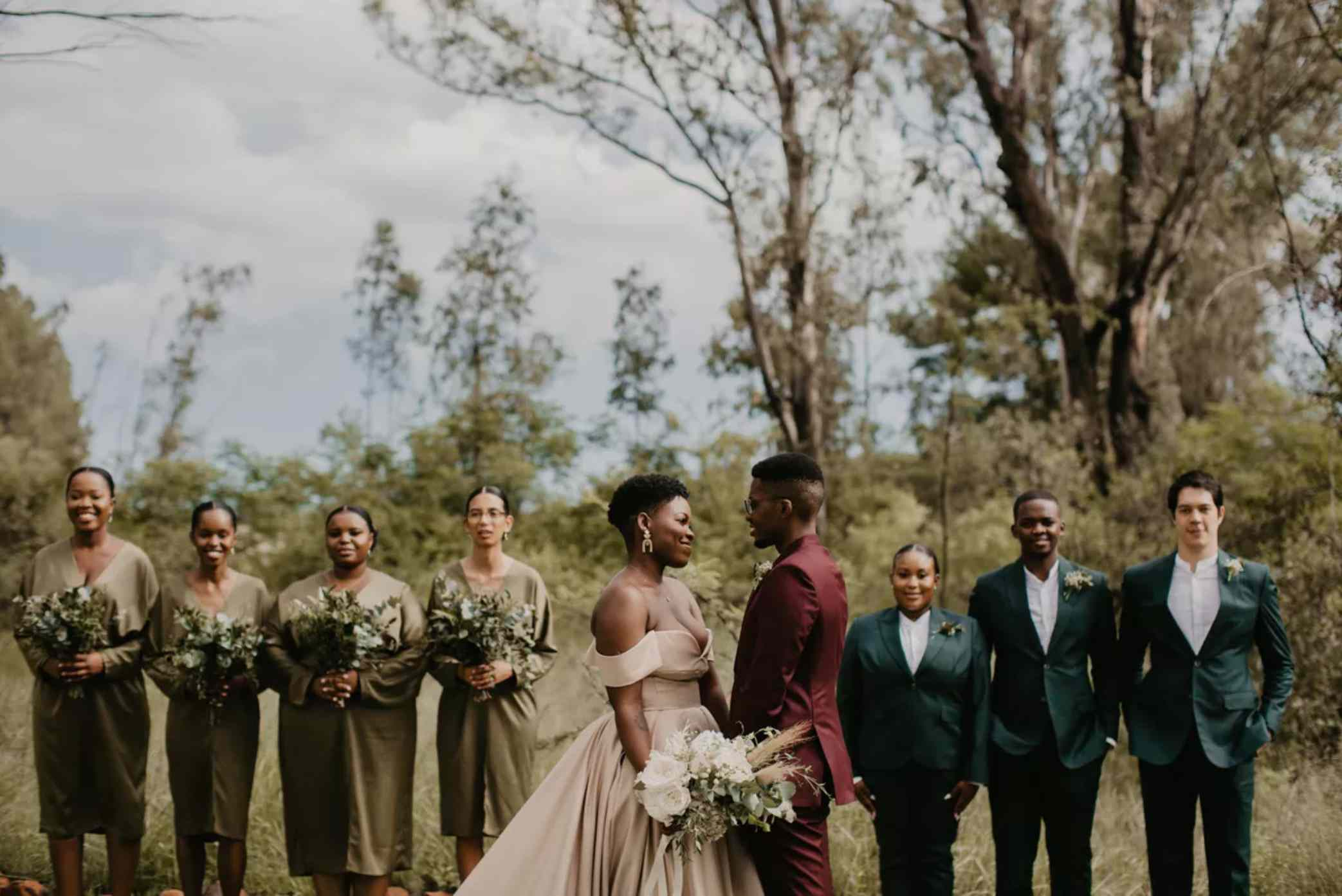 Wedding party in shades of green