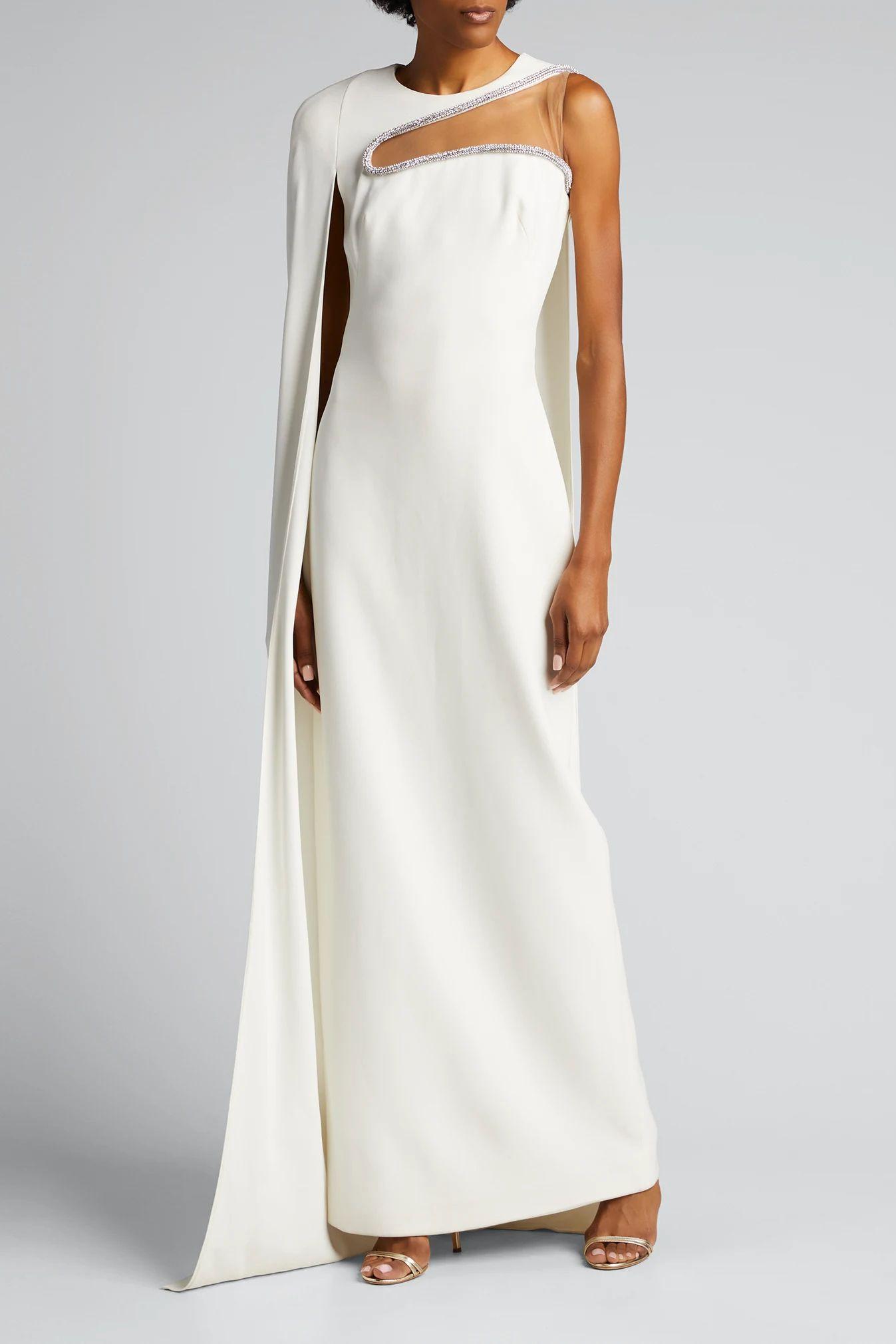Embellished Column Cape Dress