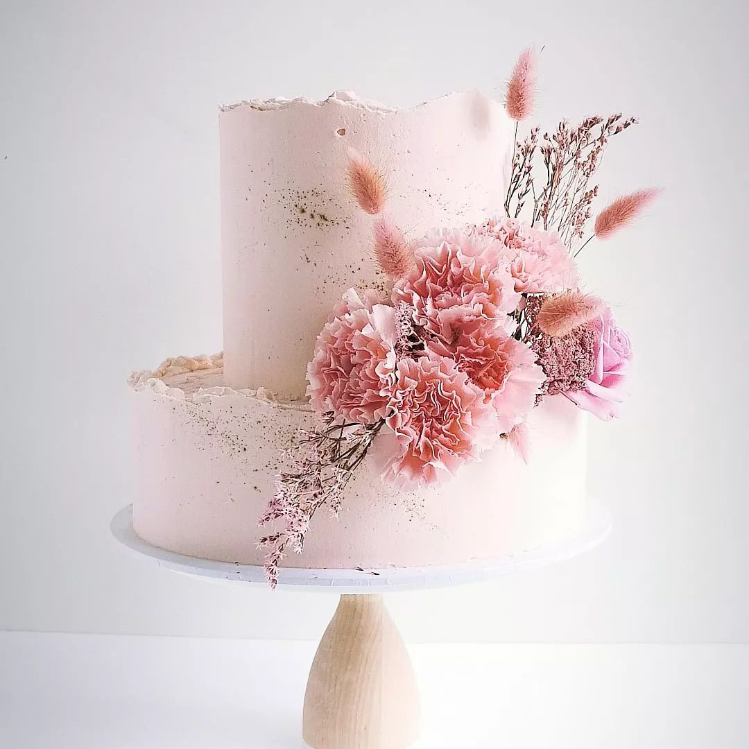 pink two tiered cake