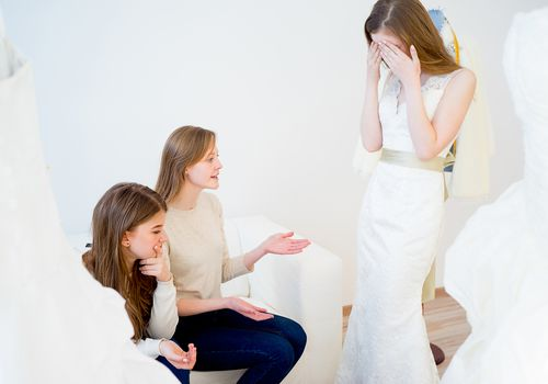 Bride upset with bridesmaids