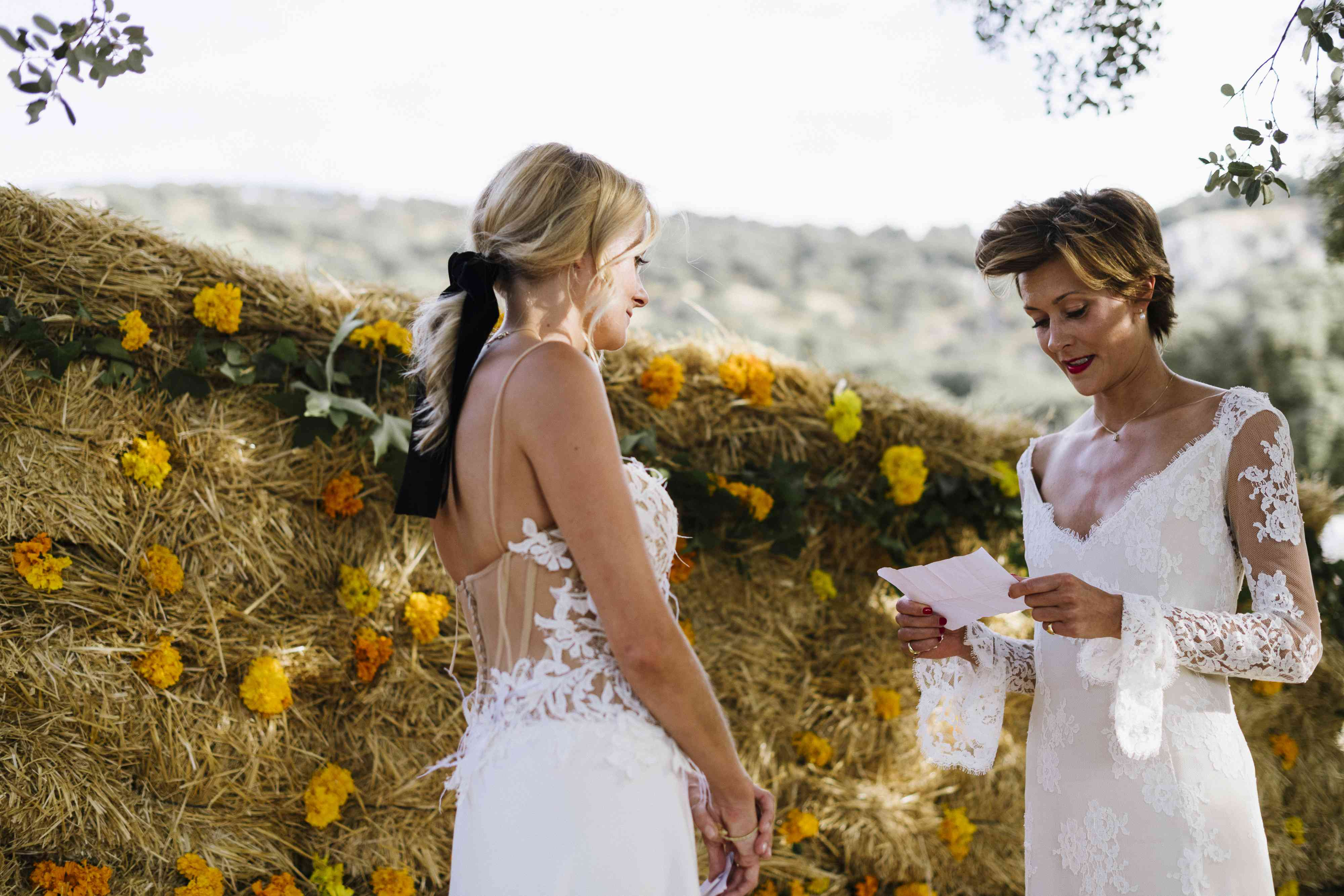 brides exchanging vows