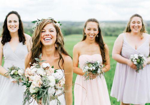 <p>Bridal Party in Short Mismatched Bridesmaid Dresses</p>