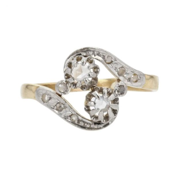 1stDibs French 1910s Diamond 18 Karat Yellow Gold Platinum You and Me Ring