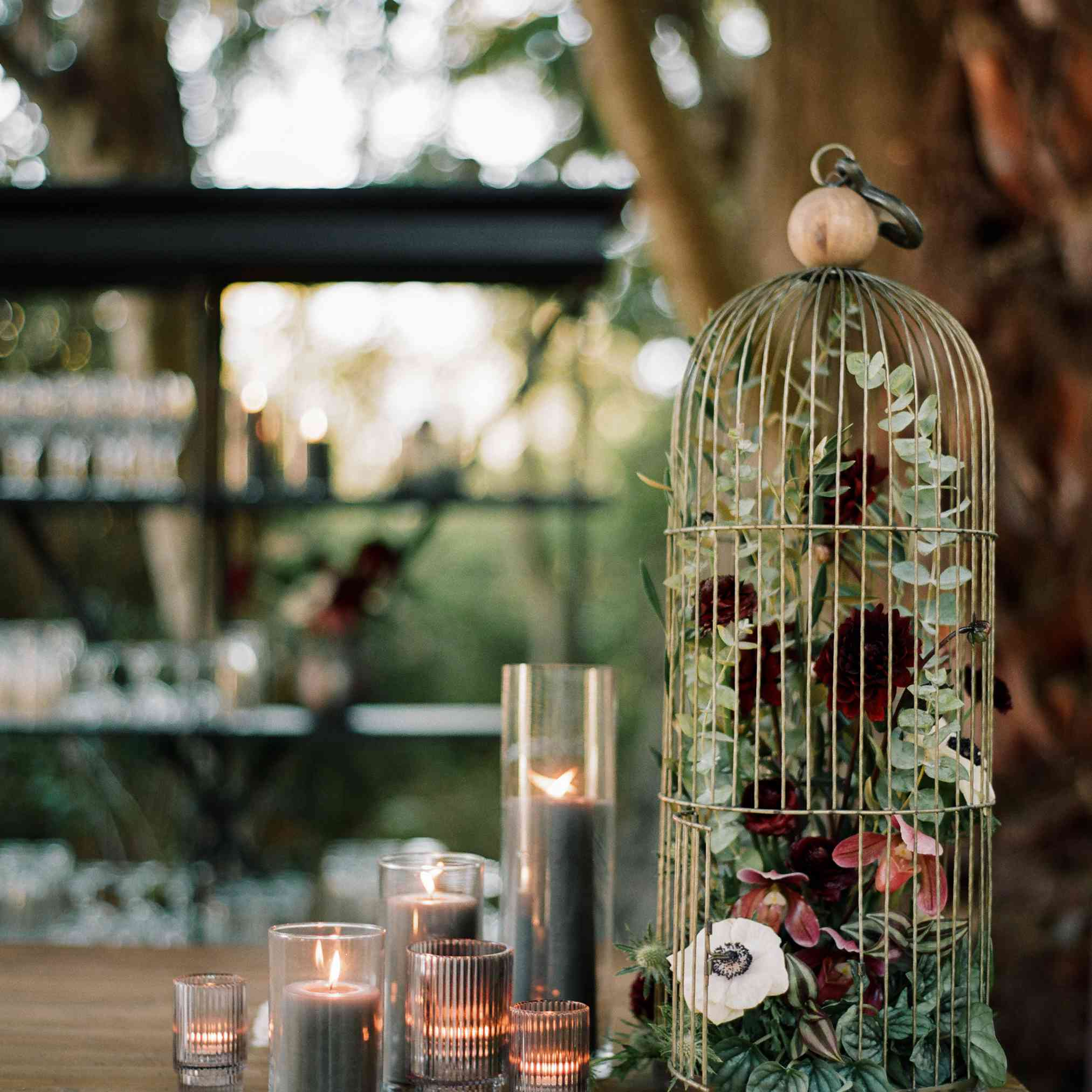 Birdcage filled with greenery and blooms