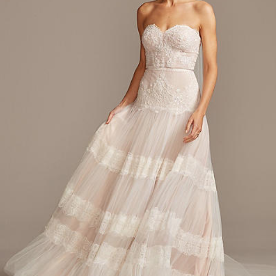 Melissa Sweet Banded Lace Point D'Esprit Tulle Wedding Dress