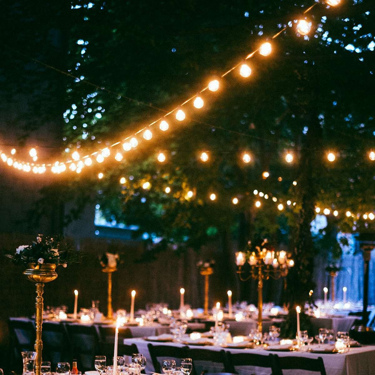 reception space with lights