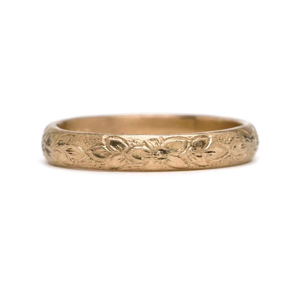 Sofia Kaman Rose Gold Ring With Flower Etching