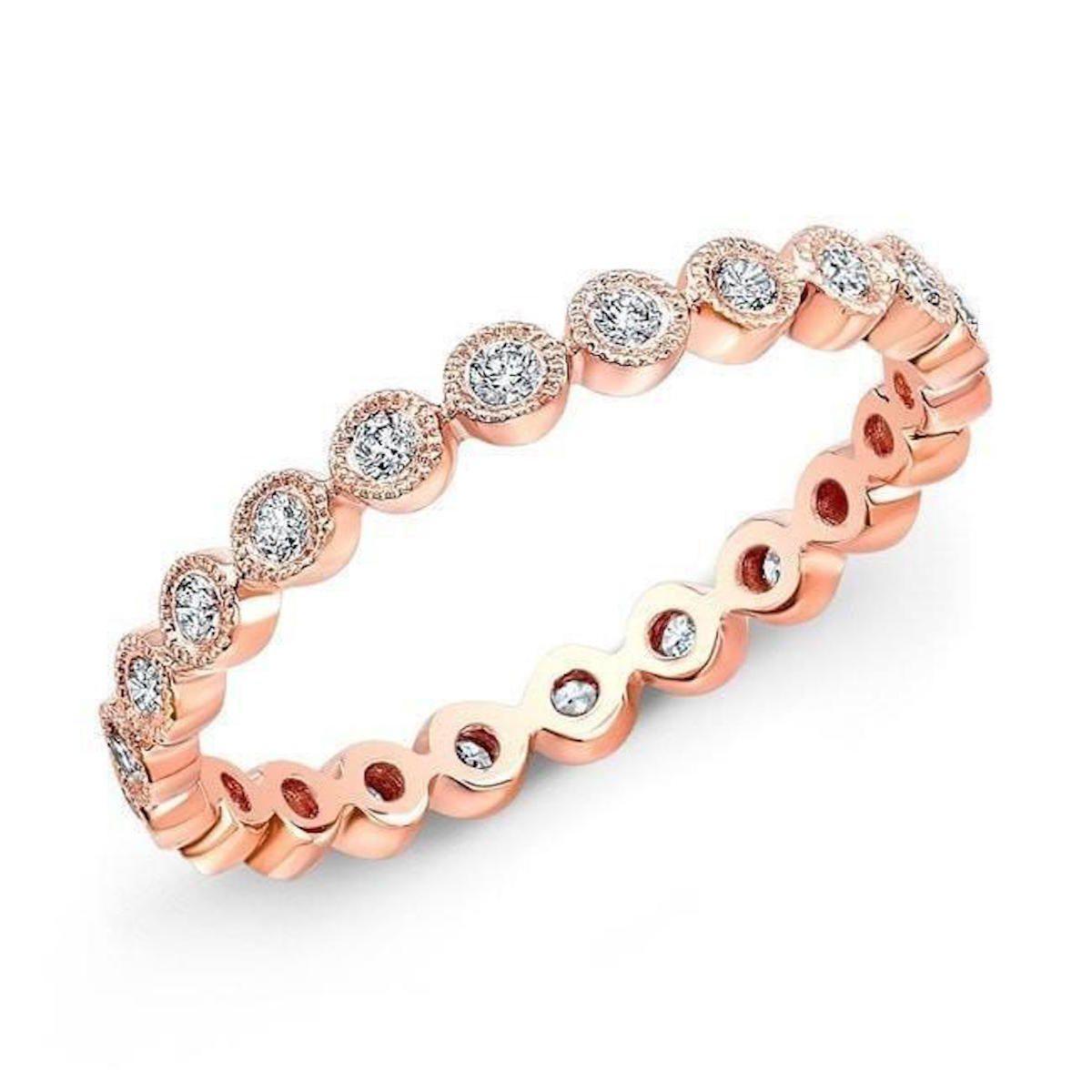 Anne Sisteron 14k Rose Gold Bezel Set Diamond Faith Ring