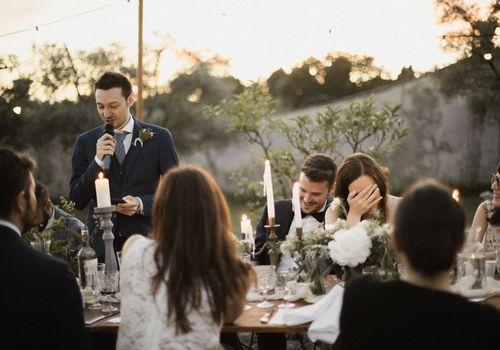 Groomsman delivering wedding toast