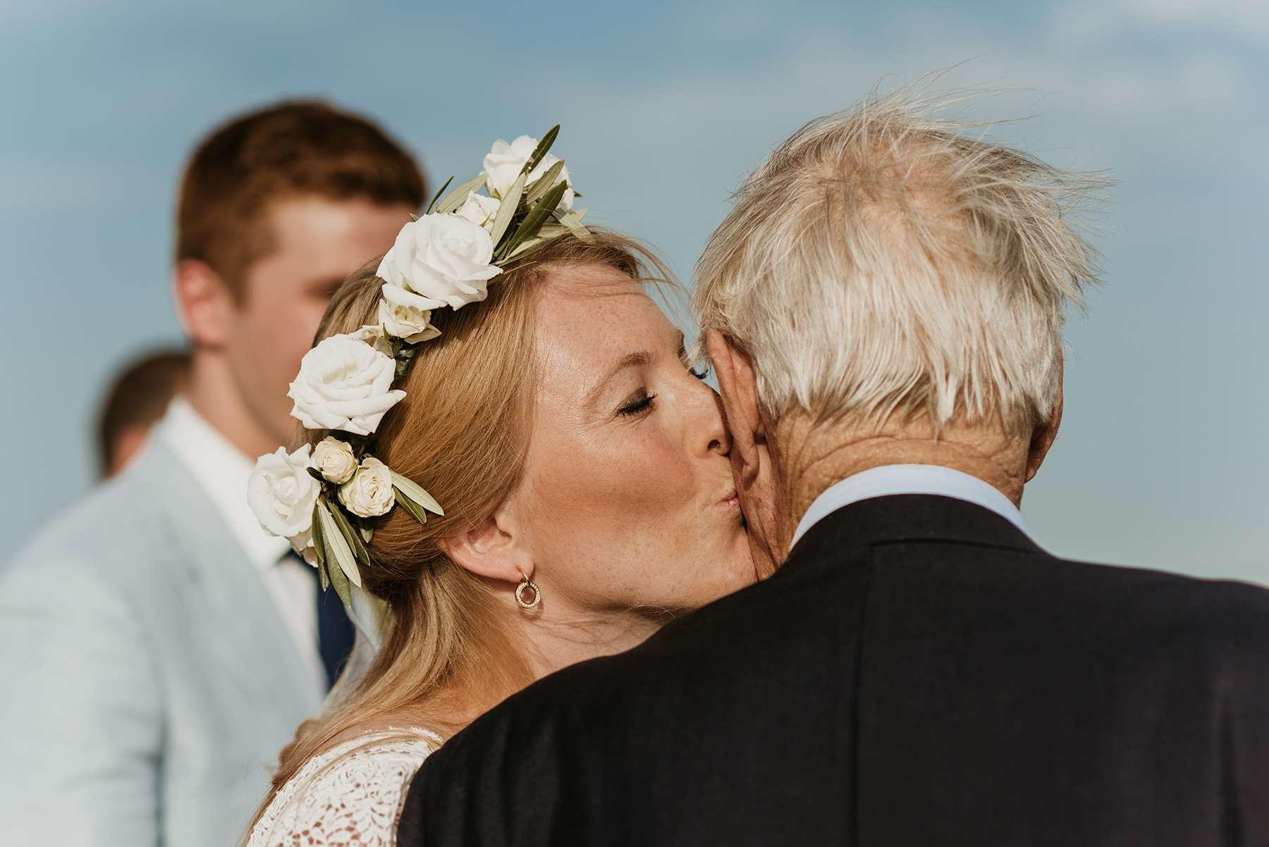 <p>Bride kissing father of bride</p><br><br>