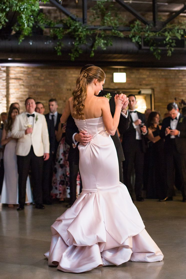 The bride and groom during their first dance