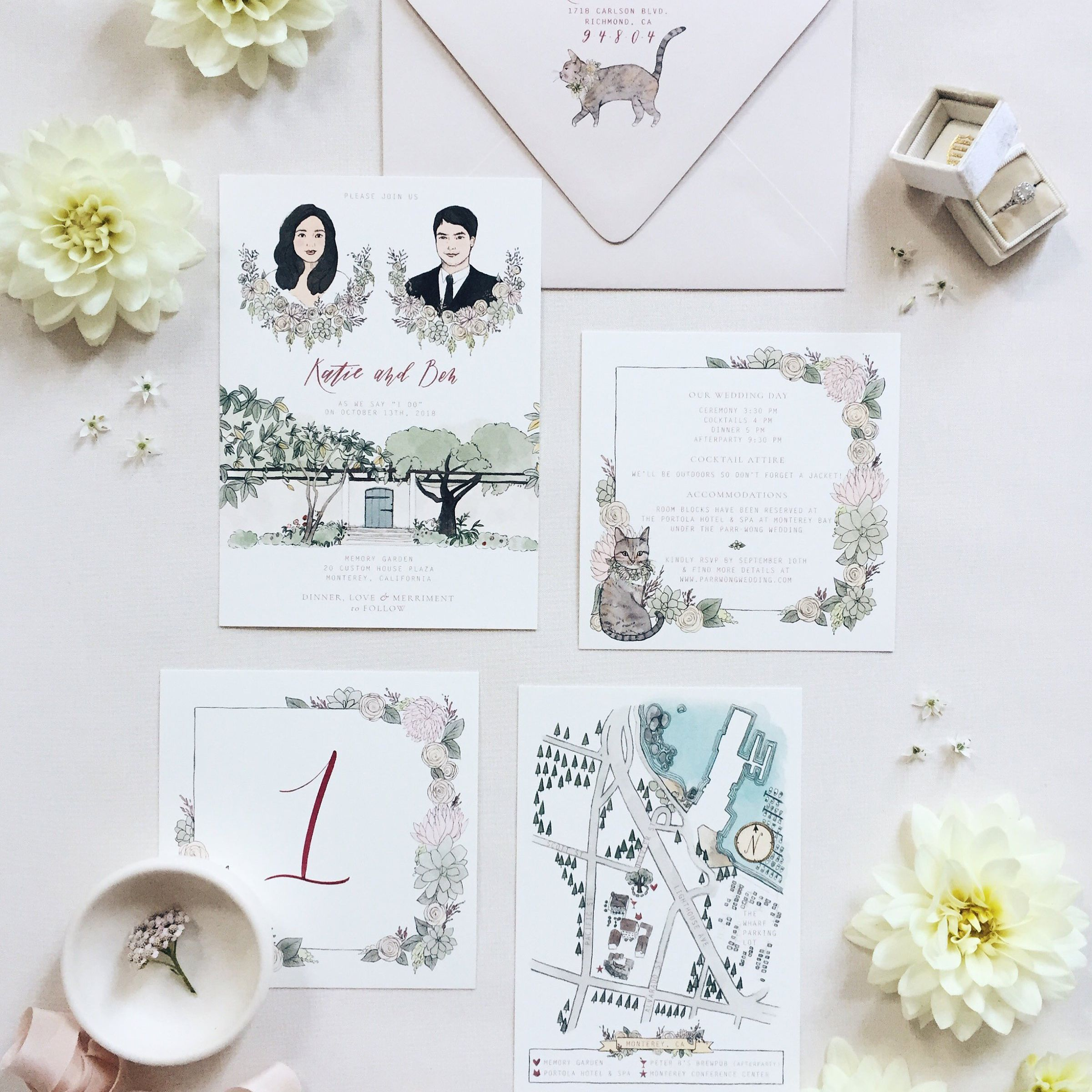 e8153ee75e665 10 Beautifully Illustrated Wedding Invitations You Can Buy on Etsy