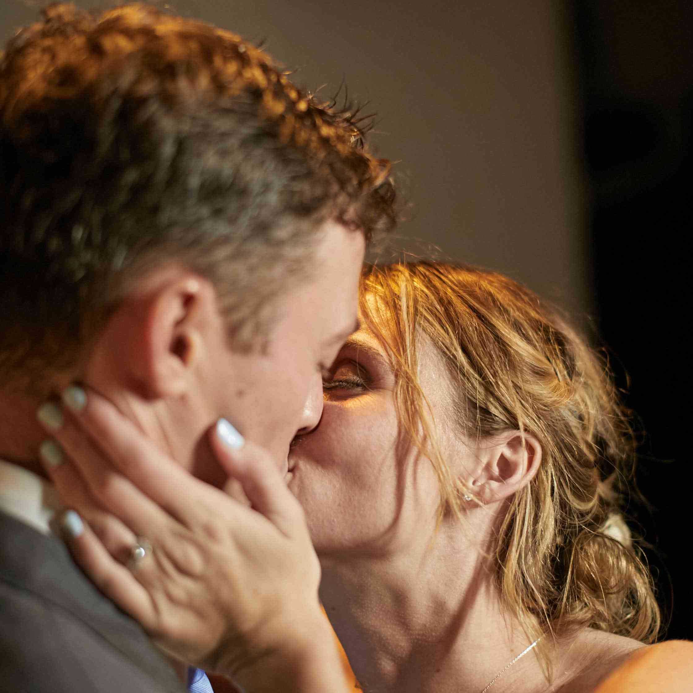 <p>Bride and Groom Kiss</p><br><br>