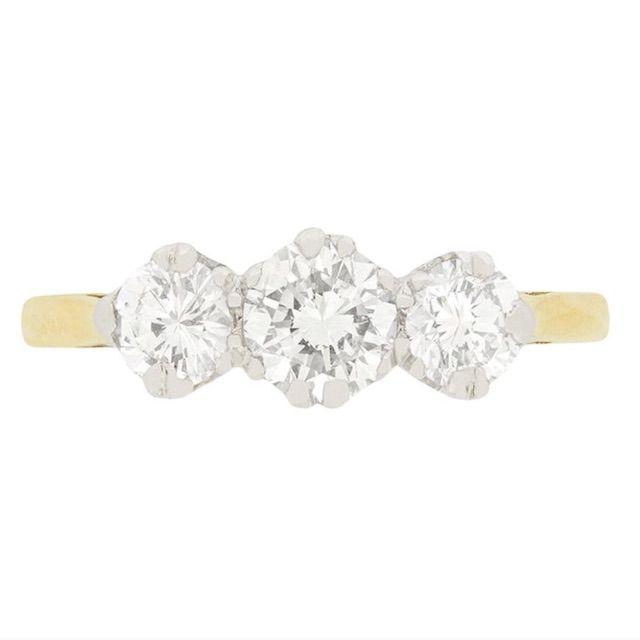1stDibs Late Art Deco 1.10 Carat Diamond Three-Stone Engagement Ring, circa 1940s