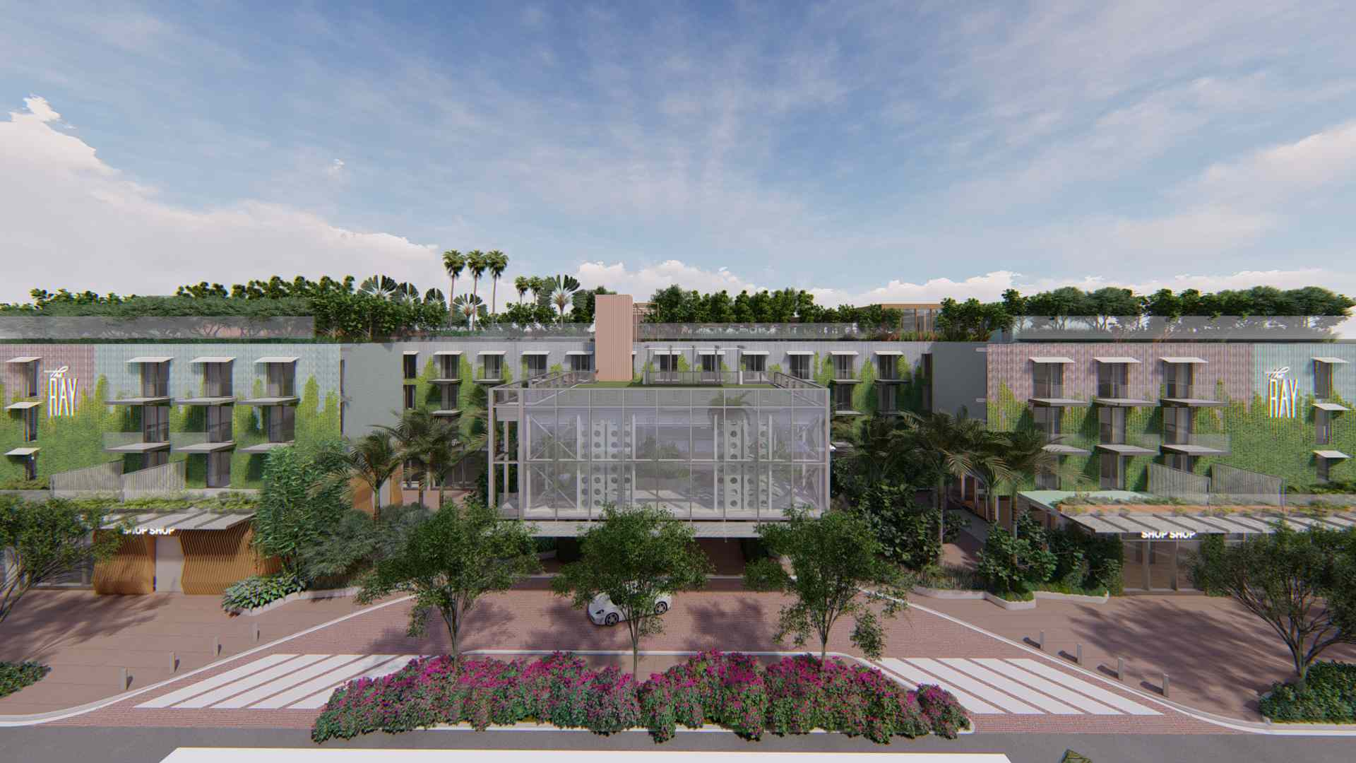 Rendering of The Ray hotel in Delray Beach showing the exterior and glass cube feature