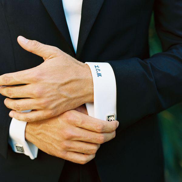 groom and cufflinks
