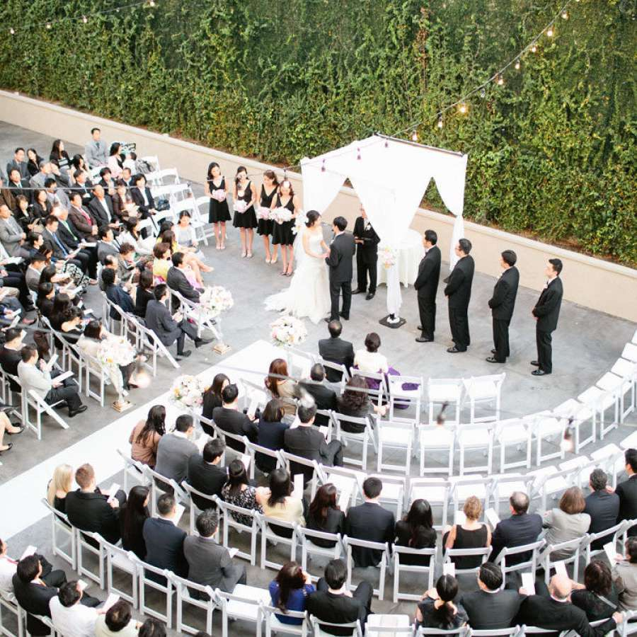 Wedding ceremony seats arranged in curved rows