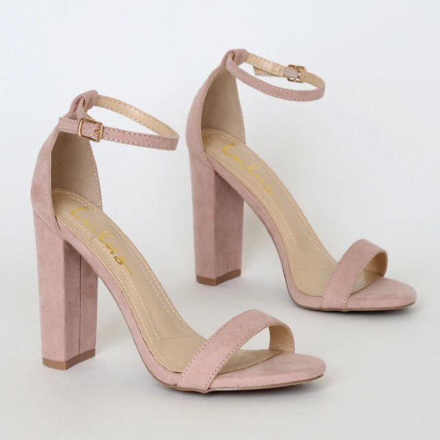 blush suede heels with ankle strap