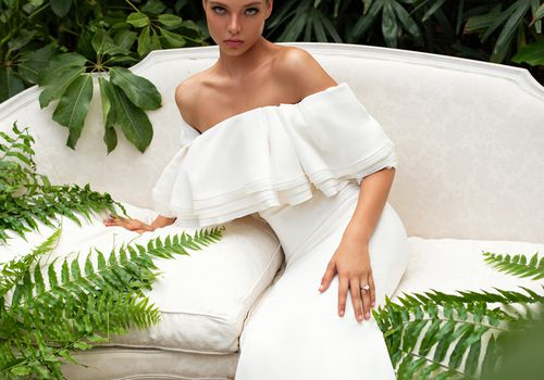model wearing wedding dress
