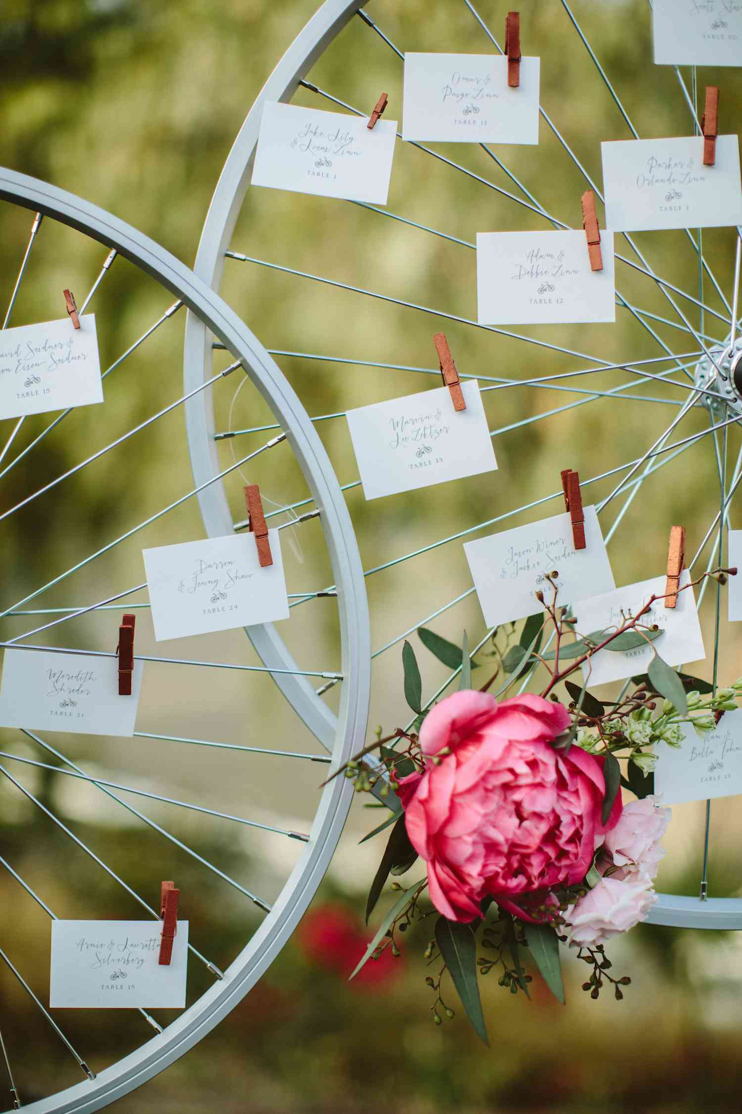 Bike tire escort cards