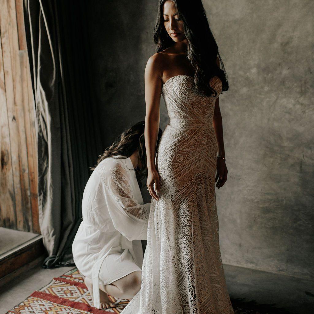 The bride in her Rue de Siene gown