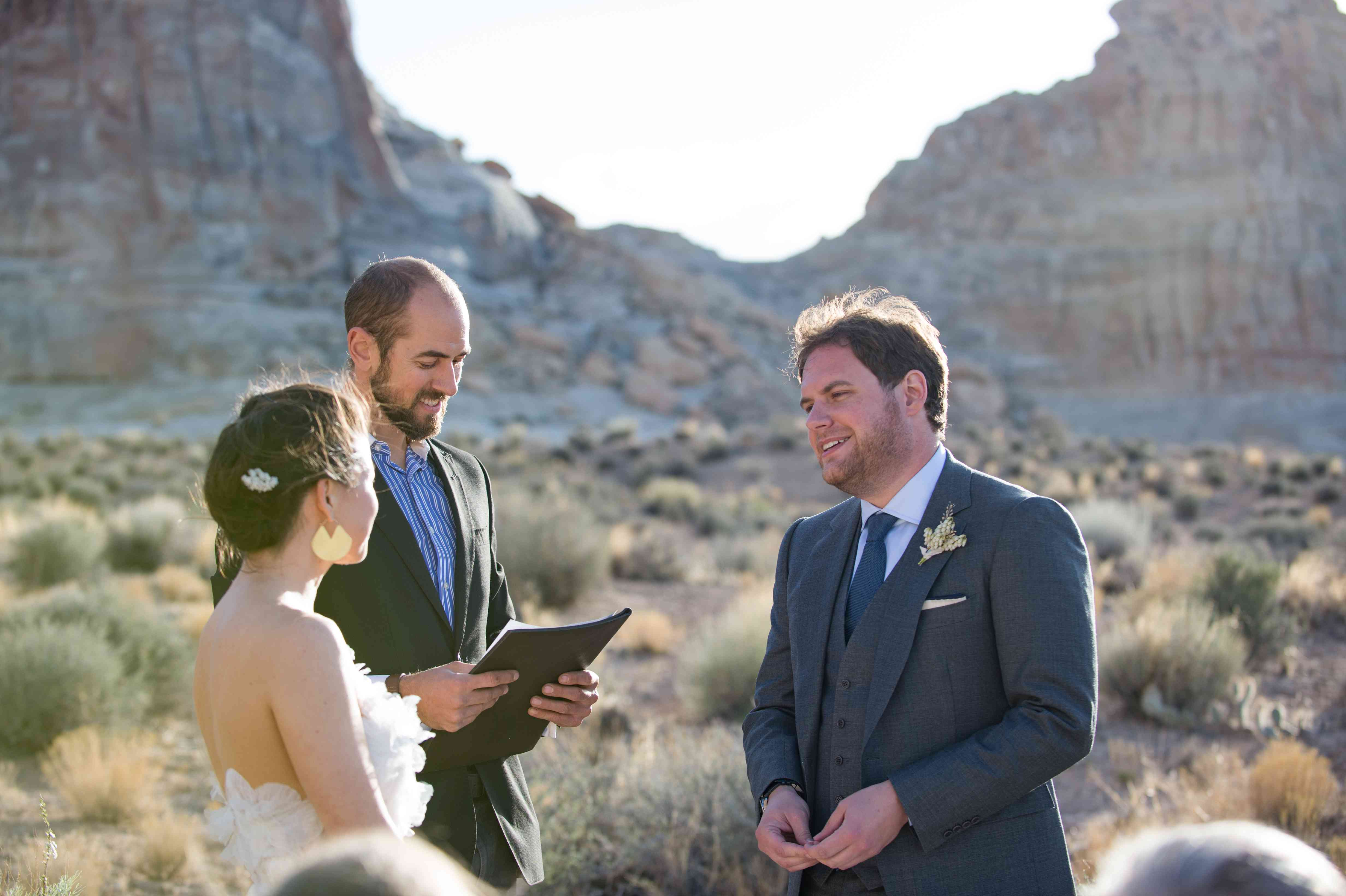 <p>vows bride and groom at altar</p><br><br>