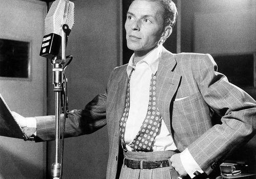 Frank Sinatra in a recording studio