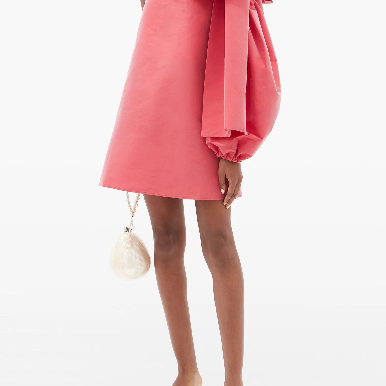 one-shoulder taffeta mini dress