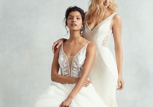 models wearing wedding dress