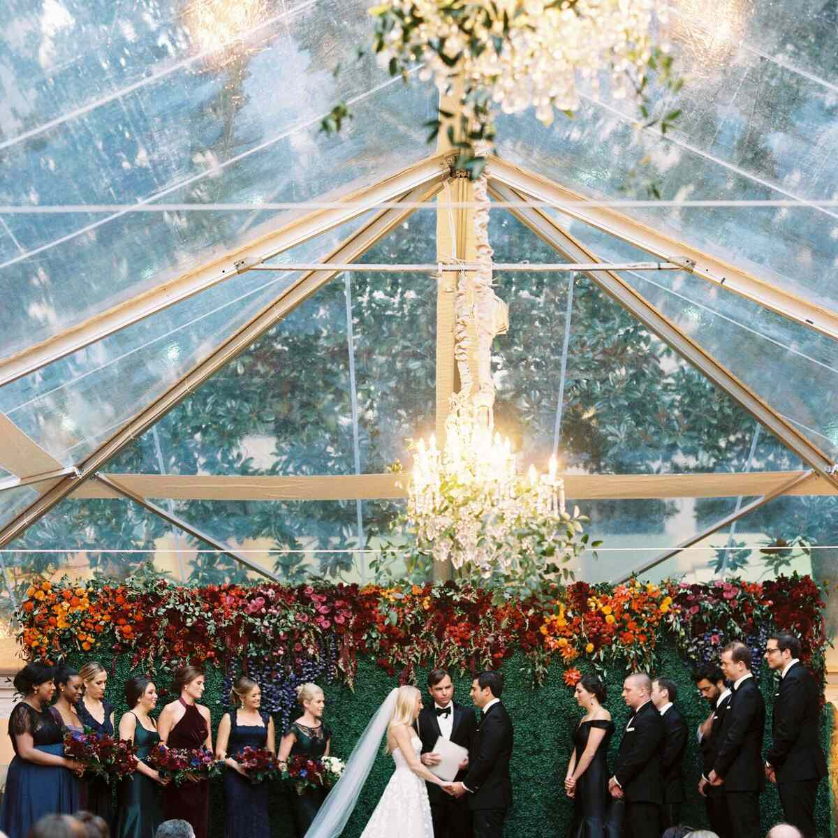 Greenery flower wall in clear tent