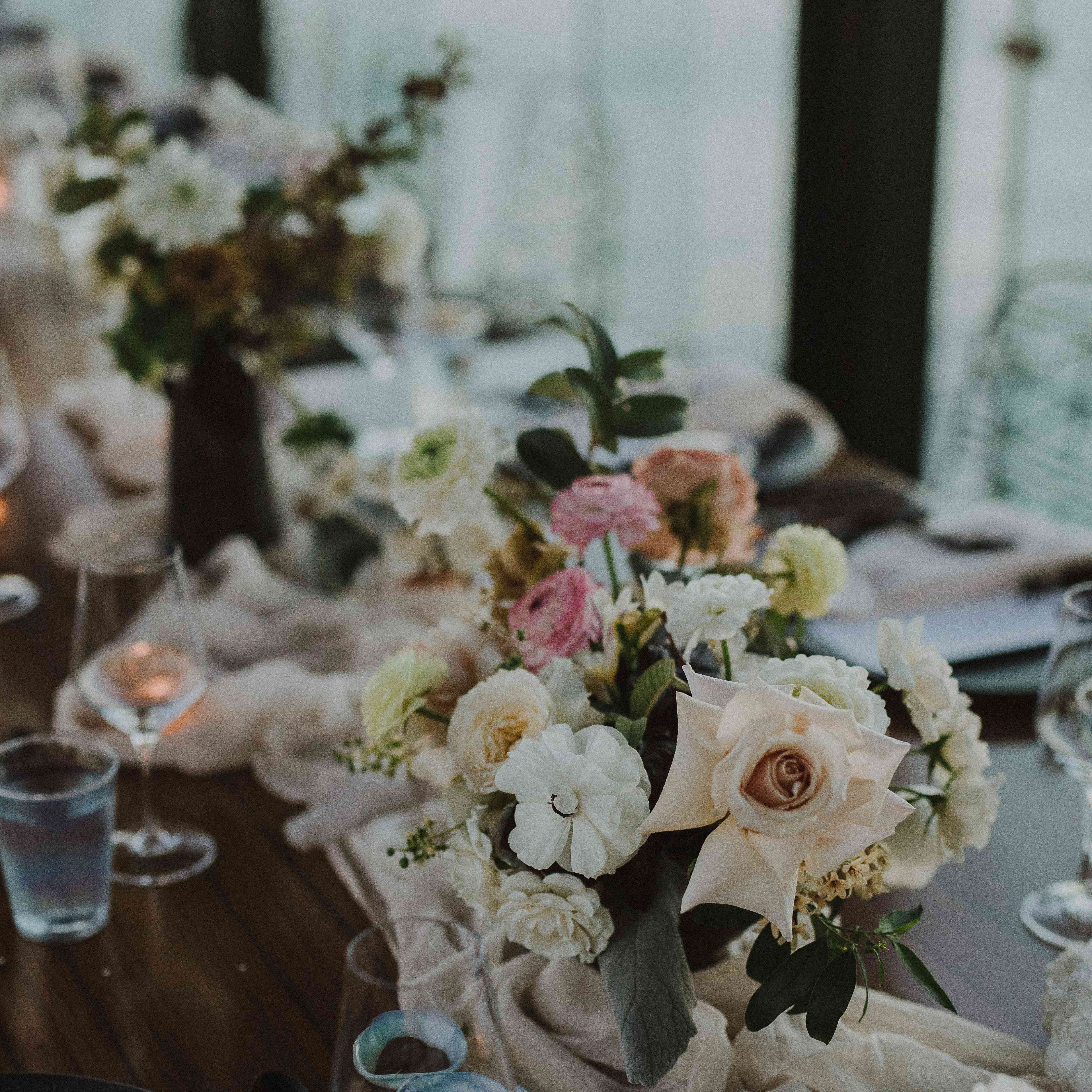Flower Centerpieces on Table