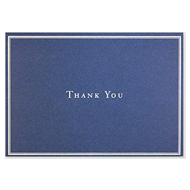 Navy Minimal Semi-Custom Wedding Thank You Card with Photo