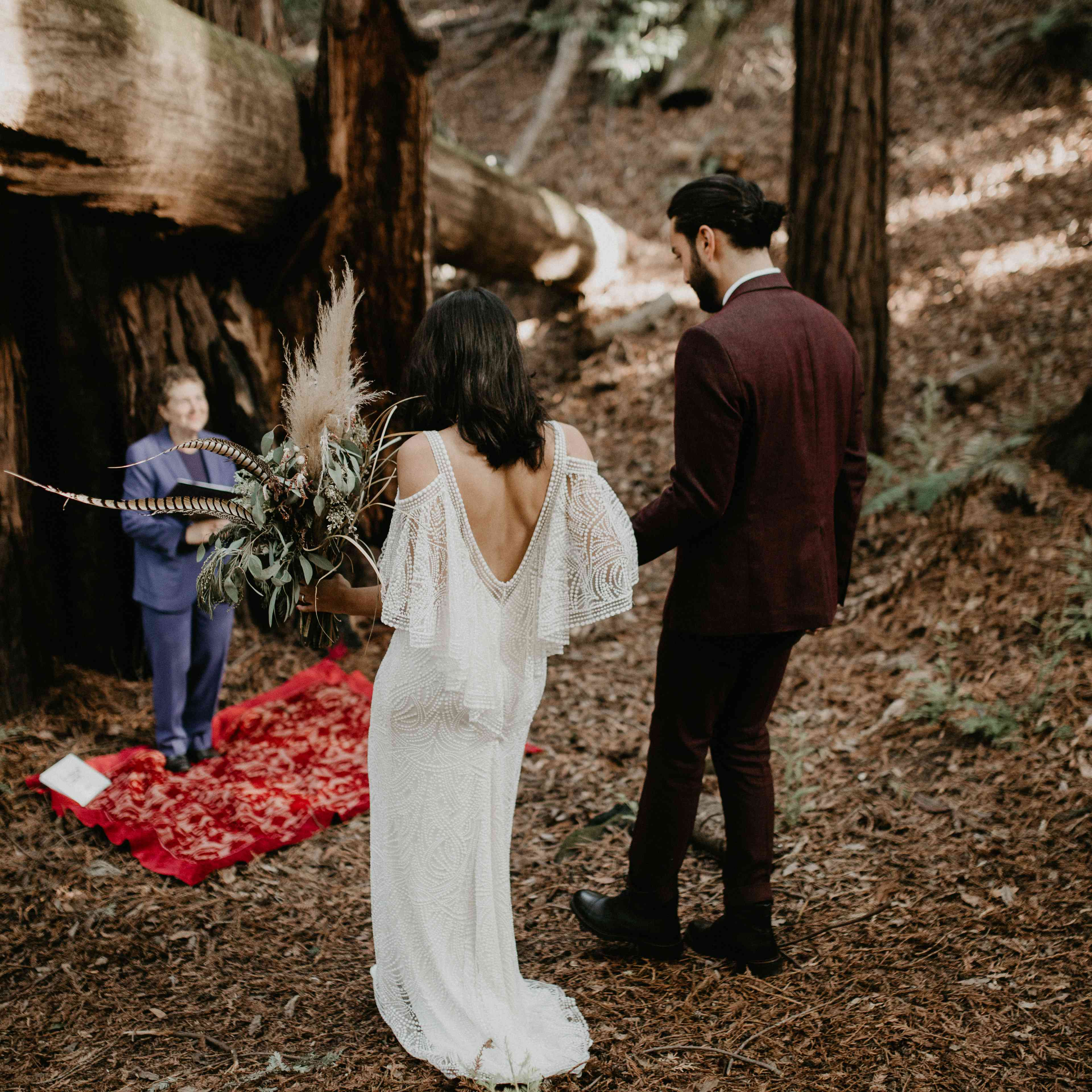<p>bride and groom walking down the aisle</p><br><br>