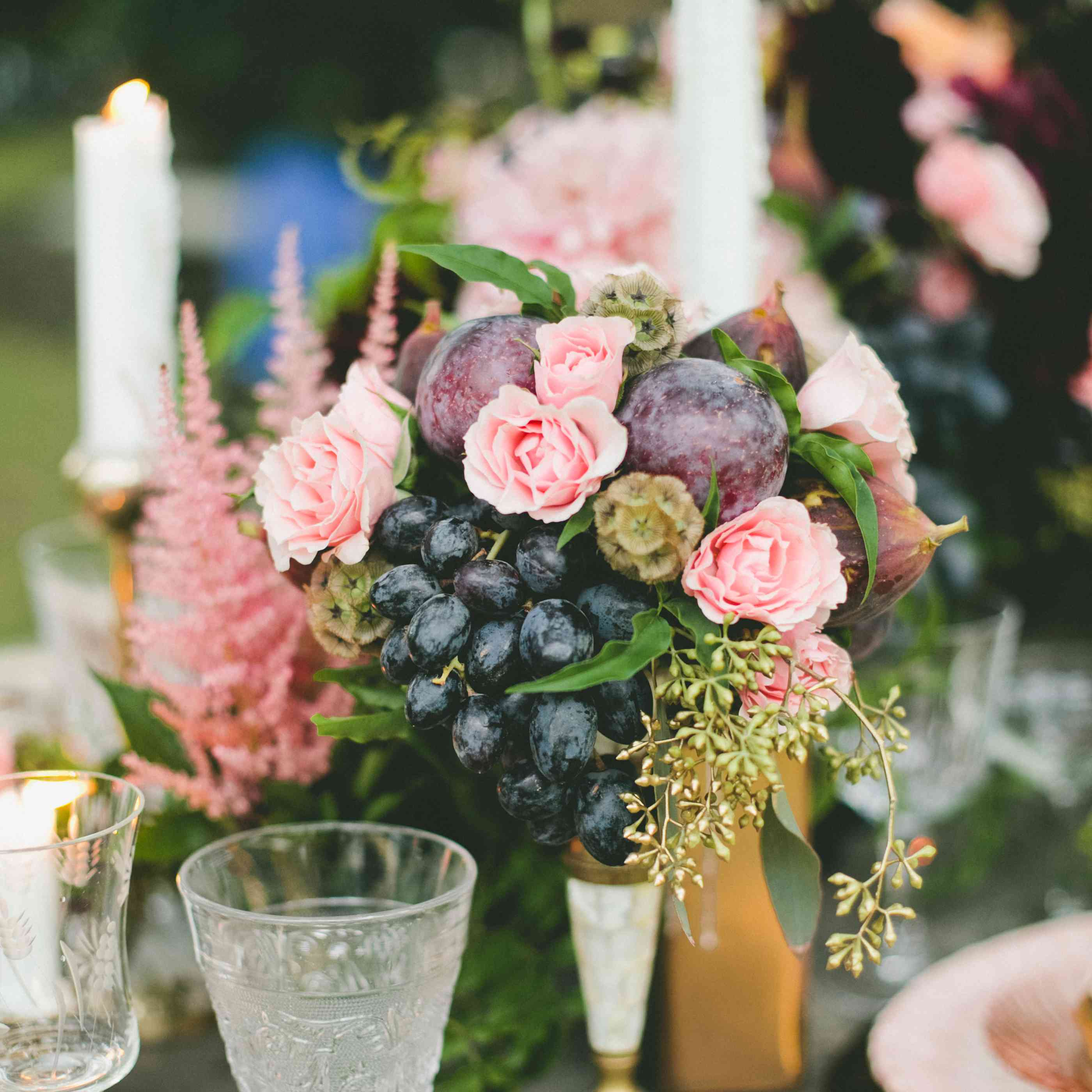Blackberries and figs in a centerpiece
