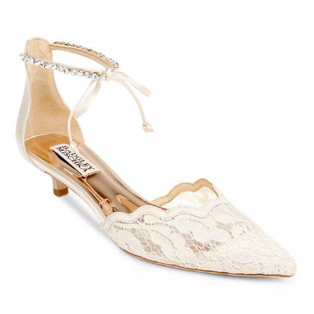 ankle strap kitten heel lace shoe